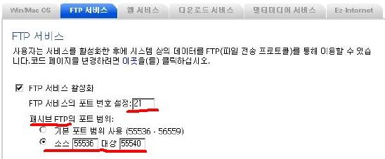 FTP 설정 화면